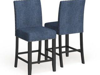 Strick   Bolton Gallaccio 25 inch Blue Fabric Stool  Set of 2    40 H x 18 3 W x 22 3 l  Retail 154 99