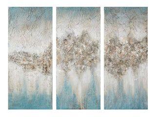 Set of 3  15  x 35  luminous Hand Painted Canvas Set Blue  Retail 136 49