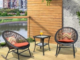 Ovios 3 Piece Patio Rocking Bistro Set Patio Outdoor Furniture  Porche Rocking Chairs Conversation Sets with Glass Coffee Table  Retail 249 49