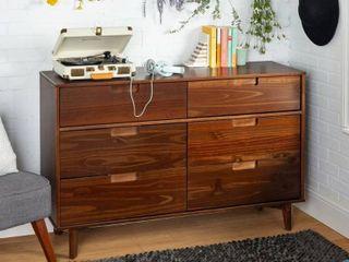 Carson Carrington Eskilstuna Mid century Oak and Grey Wood 6 drawer Chest  Retail 218 99