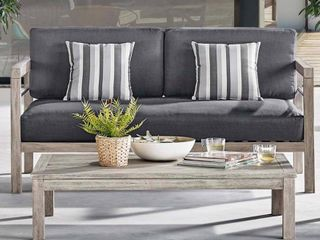 Wiscasset Outdoor Patio Acacia Wood Coffee Table in light Gray