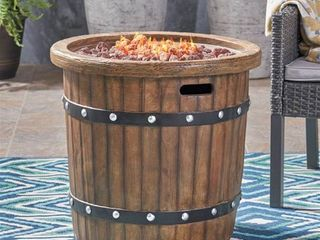 Christopher Knight Home Garland Outdoor 25 inch lightweight Concrete Round Propane Fire Pit  Retail 451 49