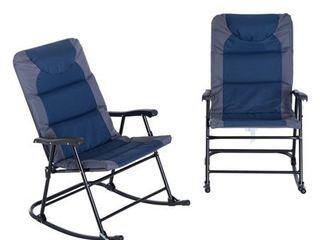 Outsunny Folding Padded Outdoor Camping Rocking Chair Set   Blue   Grey  Retail 143 49