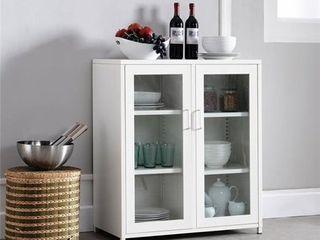 Contemporary 2 Door Kitchen Cabinet White  Retail 181 49