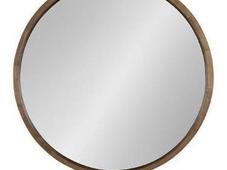 Kate and laurel Hutton 30 Inch Round Wall Mirror in Natural Rustic