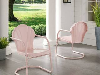 Diana Bay Pink Retro Metal Chairs  Set of 2  by Havenside Home  Retail 107 99