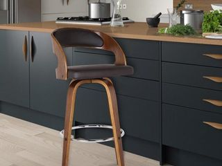 Armen living Shelly Counter or Bar Height Swivel Barstool in Walnut Wood Finish with Brown PU Counter Height   23 28 in  Retail 141 99