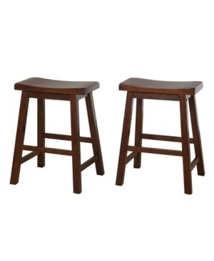 Simple living Belfast 24 inch Saddle Counter Stool  Set of 2  Retail 88 98