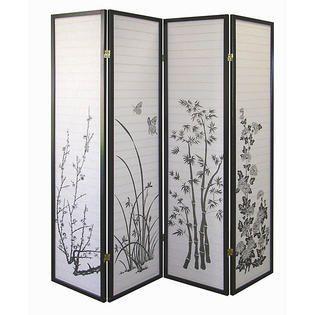 Black Floral 4 panel Screen Room Divider  Retail 137 86
