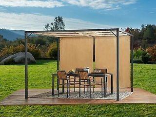 Wendy Outdoor Modern 10 ft x 10 ft Square Steel Frame Gazebo