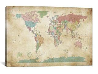 iCanvas Michael Thompsett World Cities Map Canvas Print Wall Art