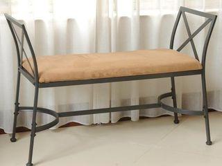 International Caravan Chelsea Iron Foot of Bed Vanity Bench  Retail 122 49
