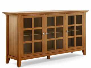 WYNDENHAll Normandy SOlID WOOD 62 inch Wide Rustic Wide Storage Cabinet   62 w x 18 d x 34  h  Retail 472 49