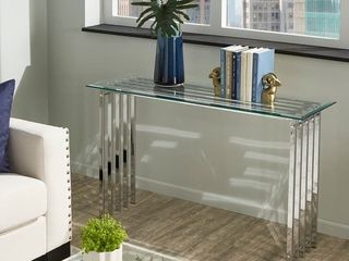 Silver Orchid Valkyrien Contemporary Glass Top Sofa Table  Retail 256 49