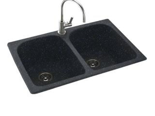 Swan 33 in D x 22 in W x 10 5 in H Solid Surface Dual Mount Double Bowl Kitchen Sink with 1 Hole  Retail 298 49