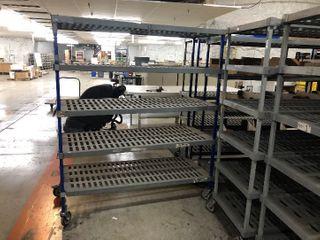 2  24in x 48in Plastic Storage Rack On Wheels