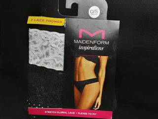 Maidenform Inspirations 2 Pk lace Thongs O s Black And Tan