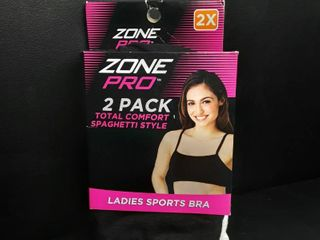 Zone Pro Total Comfort Spaghetti Style ladies Sports Bra 2 Pk White Black 2x