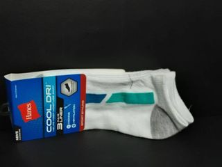 Hanes Mens Cool Dri 3 Pair liner Wicking Ventilation Size 6 12 Wt Aqua 081120