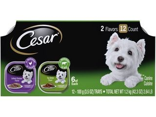 12 Pack  CESAR Wet Dog Food Classic loaf in Sauce Top Sirloin   Grilled Chicken Flavors Variety Pack  3 5 oz  Trays