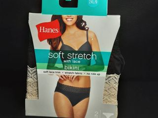 Hanes Women s 2 pack Soft Stretch Tagless lace Bikini Panties Size 9  2xl