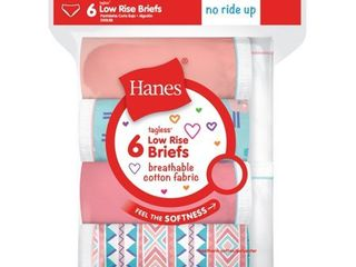 Hanes Girls Breathable Cotton low Rise Briefs 6 Pack  10  Assorted