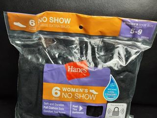 Hanes 6 pack Women s No Show Socks   Shoe Size 5 9  Black 2pks