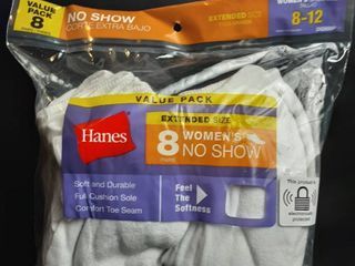 8 Pair Hanes Women s No Show Socks Shoe Size 8 12 White Soft Cushion Durable