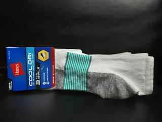 Hanes Mens Cool Dri 3 Pair Ankle Wicking Ventilation Size 6 12 Wt Aqua 081120