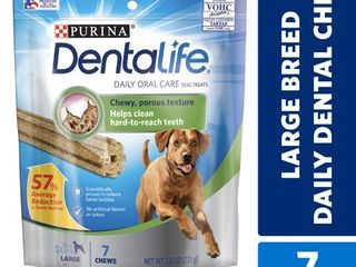 Purina Dentalife large Dog Dental Chews  Daily  7 ct  Pouch