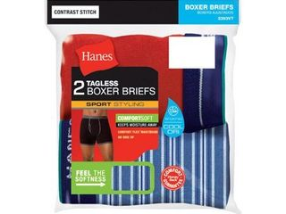 Hanes Red label Men s 2 Pack No Ride Up Boxer Briefs  Assorted  X large