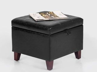 Adeco Square Faux leather Storage Ottoman with Tufted Flip Top  18x18x15  Black  Retail 89 99