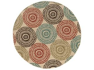 The Curated Nomad Wilson Floral Beige Blue Indoor Outdoor Area Rug  Retail 133 99