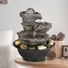4 Tier Cascading Resin Rock Waterfalls Tabletop Water Fountain  Garden Patio Table Decorations Fountains with Zen Elements