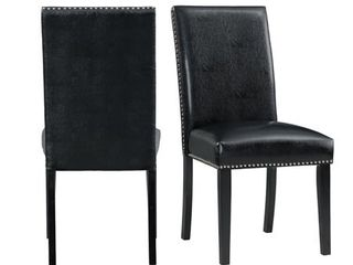 Picket House Furnishings Pia Faux leather Side Chair Set in Black  Retail 175 99 set of 2