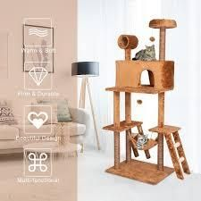 Kinpaw 69  large Cat Tree Tower  Multi level Cat Tree Condo Furniture w  Scratching Posts  Kitten Activity Center   BROWN  Retail 79 98