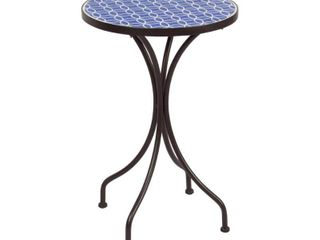 Round Mosaic Table Blue   White Pattern