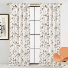 Porch   Den Pasquinade Embroidered Floral Branch linen Blend Grommet Curtain 2 pc