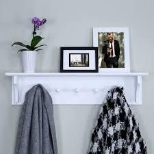 24  Floating Coat and Hat Wall Shelf Rack  5 Pegs Hook  Black White