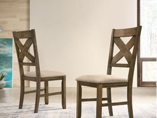 Raven Wood Fabric Upholstered Dining Chair  Set of 2  Retail 143 49