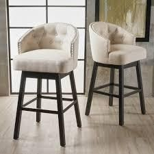 Kenzo Fabric Swivel Barstools  Set of 2  by Christopher Knight Home  Retail 281 49 beige and walnut