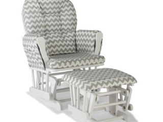 Stork Craft Custom Hoop Glider And Ottoman White gray Chevron