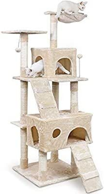 PAWZ Road Cat Tree Deluxe Cat Activity Center Features Condos Scratching Posts Dangling Ball and Hammock 68