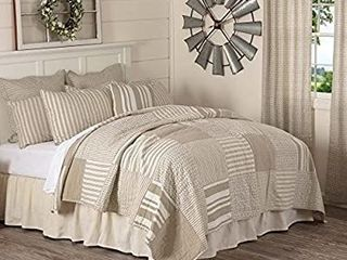 Piper Classics Wheat Field Quilt Country Cottage or Modern Farmhouse Bedding  Cream   Taupe Grain Sack   Ticking Stripe Fabrics  100  Cotton