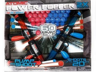 Atomic Power Popper Dual 2x Battle Pack  With 60 Ammo Balls