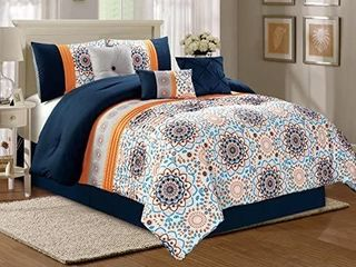 Modern 7 Piece Fine Printed Mayfield Bedding Navy Blue   White   Orange