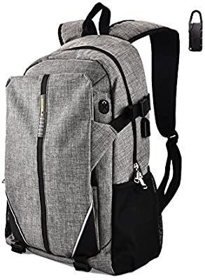 Travel laptop Backpack Business Backpack Oxford Cloth with USB Charging Port Fits Under 17 Inch laptop   Notebook Gray COS 002