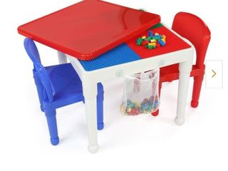 White blue pink Kids 2 in 1 Plastic Activity Table 2 Chairs