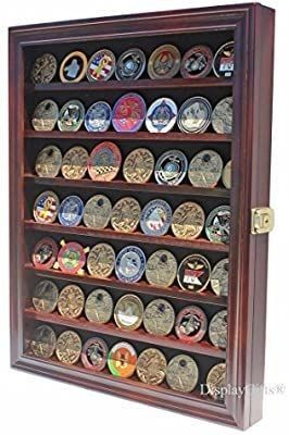 lockable Military Challenge Coin Display Case Cabinet Rack Holder  Mahogany Finish