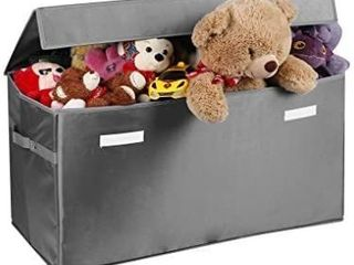 Prorighty Collapsible Toy Chest for Kids  XX large  Storage Basket w Flip Top lid   Toys Organizer Bin for Bedrooms  Closets  Child Nursery   Store Stuffed Animals  Games  Clothes  light Grey
